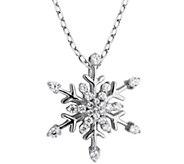 Diamonique Snowflake Pendant with 18 Chain, Sterling - J345745