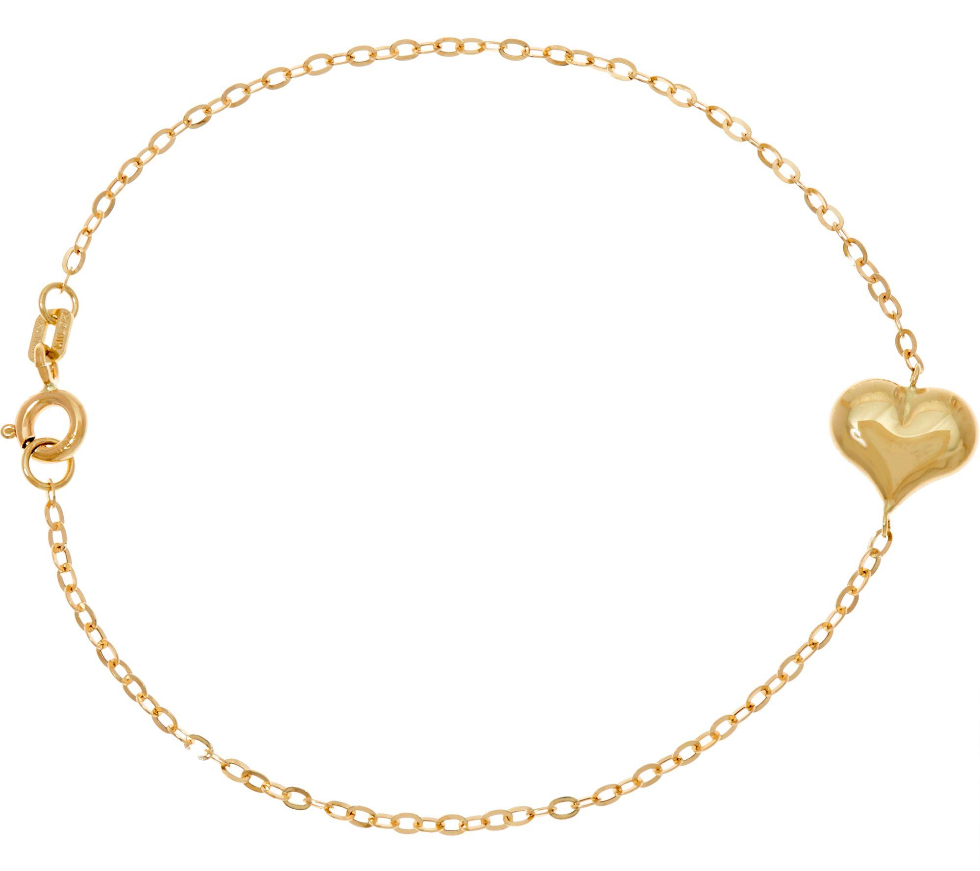 Gold Heart Line Bracelet 14k