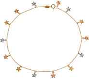 Italian Gold 10 Tri-Color Ankle Bracelet, 14K Gold 1.7g - J350945