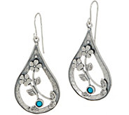 Or Paz Sterling Silver Pear Shaped Turquoise Dangle Earrings - J354545
