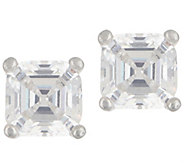 Diamonique 1.00 ct tw Asscher Cut Stud Earrings Platinum Clad - J356845