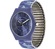 As Is Isaac Mizrahi Live! SOHO Soft Touch Camo Expansion Watch - J356945