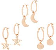 Italian Gold Hoop Earrings Charm Set 14K Rose Gold - J358745