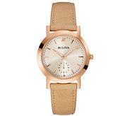 Bulova Womens Beige Leather Strap Watch - J384245