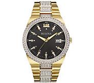 Bulova Mens Stainless Goldtone Crystal Bracelet Watch - J384445