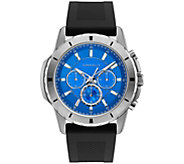 Caravelle Mens Chronograph Black Silicone Strap Watch - J384645