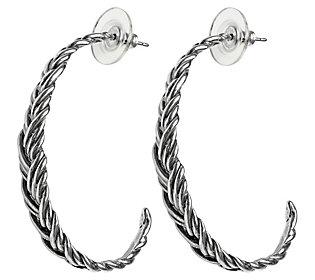Or Paz Sterling Silver Braided J-Hoop Earrings