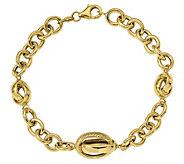 Italian Gold Bold Cable & Crossover Link Bracelet, 7.5g - J384945