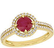 14K Gold 1.20 cttw Ruby & 3/10 cttw Diamond Halo Ring - J385145