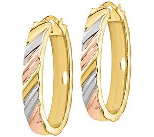 Italian Gold Tri-Color Oval Hoop Earrings, 14K