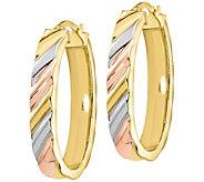Italian Gold Tri-Color Oval Hoop Earrings, 14K - J385645