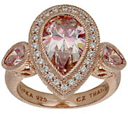 Judith Ripka Sterling 14K Clad Simulated Morganite Ring - J387745