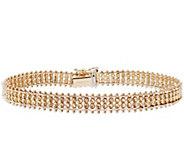 Imperial Gold 7-1/4 Woven Sparkle Bead Bracelet, 14K, 13g - J388745