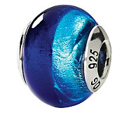 Prerogatives Sterling Two-Tone Blue Italian Murano Glass Bead - J111546