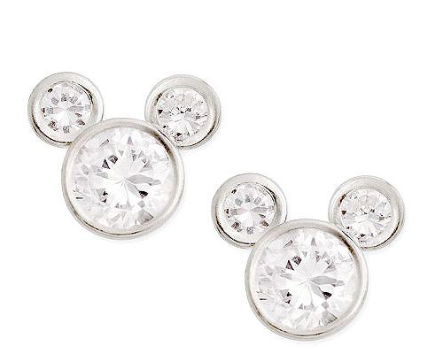Disney Sterling Silver Diamonique Mickey Stud E arrings