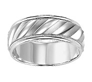 Sterling 8.0mm Mens Swirl Design Wedding Band - J315746