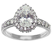 Judith Ripka Sterling 1.90 cttw Pear DiamoniqueHalo Ring - J316846