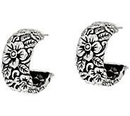JAI Sterling Silver Carved Floral Hoop Earrings - J346046
