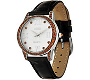 Ecclissi Facets Stainless Gemstone & Leather Watch, 1.50 cttw - J349646