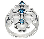 Carolyn Pollack Sterling Silver Frosted Quartz & Blue Topaz Ring - J349746