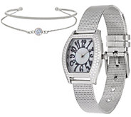 Diamonique Mesh Strap Watch Set, Boxed - J349946