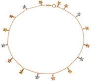 Italian Gold 11 Tri-Color Ankle Bracelet, 14K Gold 2.1g - J350946