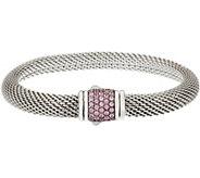 As Is JAI Sterling Silver Pave Sapphire Mesh Clasp Bracelet - J351146
