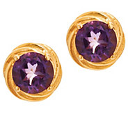Gold Knot Gemstone Stud Earrings, 1.250 cttw, Sterling Silver - J354046