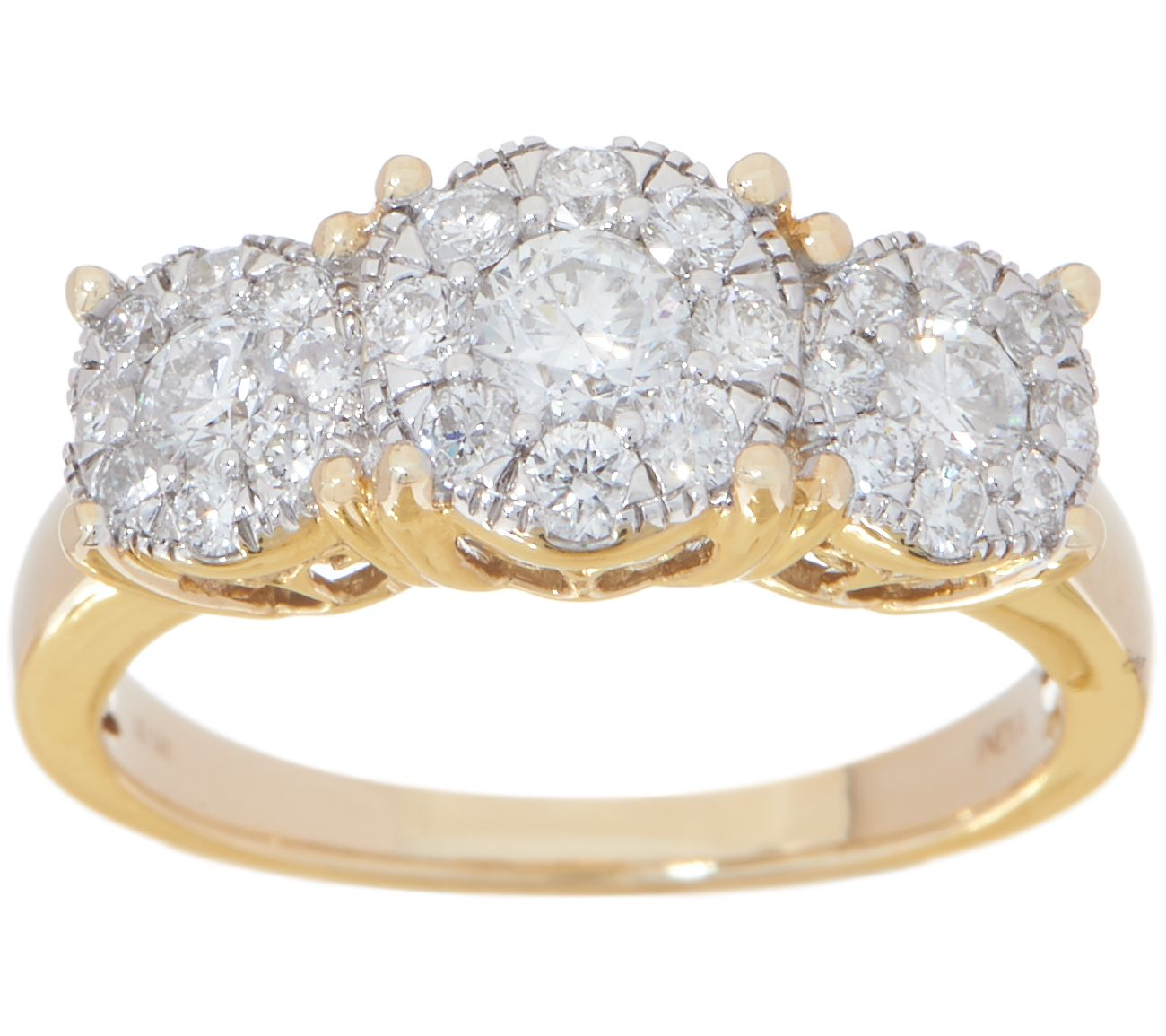 e0e204ce98f8f Diamond Three Stone Cluster Ring, 1.00 cttw, 14K, by Affinity — QVC.com