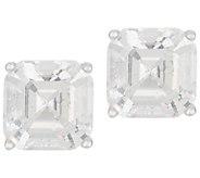 Diamonique 2.00 ct tw Asscher Stud Earrings Platinum Clad - J356846