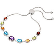 Oval Gemstone Graduated Adjustable Bracelet, Sterling Silver - J357646