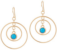 Bronzo Italia Dangle Gemstone Concentric Circles Bronze Earrings - J357946