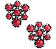 American West Sterling Coral Cluster Earrings - J377946