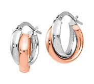 Italian Gold Two-Tone Crossover Hoop Earrings,14K - J381846