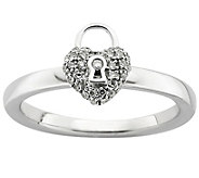 Simply Stacks Sterling Diamond Heart Lock Ring - J382746