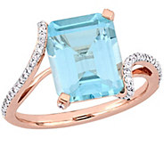 14K 5.55 cttw Topaz and 1/5 cttw Diamond Cocktail Ring - J392346