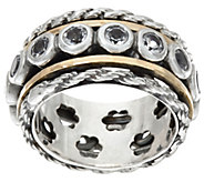 Or Paz Sterling Silver 14K Gold 1.60 Ct White Topaz Spinner - J335847