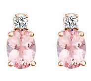 Premier 1.10 cttw Morganite & 1/8 cttw Diamond Earrings, 14K - J336147