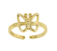 Polished Open Butterfly Toe Ring, 14K Gold - J336447