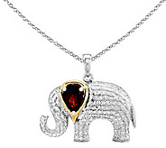 Sterling & 14K Garnet & Diamond Elephant Pendant w/Chain - J338347