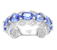 3.00cttw Tanzanite & Scalloped Band Ring, Sterling - J338647