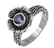 Or Paz Sterling Silver Amethyst Flower Ring - J340047
