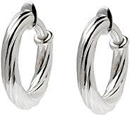 UltraFine Silver 1 Twisted Clip-On Hoop Earrings - J340947