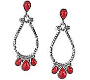 American West Sterling Red Coral Medium Pear Shaped Earrings - J341147