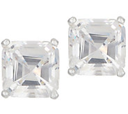 Diamonique 3.00 ct tw Asscher Stud Earrings Platinum Clad - J356847