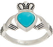 As Is JMH Jewellery Sleeping Beauty Turquoise Sterl Claddagh Ring - J356947