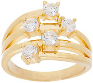 Diamonique 5 Stone Scattered Ring, Sterling or 14K Gold Clad - J358347