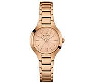 Bulova Womens Rosetone Stainless Steel Bracelet Watch - J384247