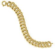 Italian Gold 14K Textured Double Curb Link Bracelet, 16.4g - J384947