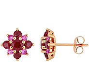 14K Rose Gold 1.70 cttw Ruby & Pink Sapphire Floral Earrings - J385147